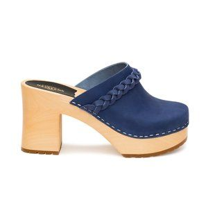 NEW Swedish Hasbeens Laila Blue Leather Clogs